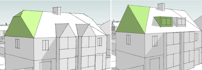 These roof extensions return balance to the semi-detached pair of properties.